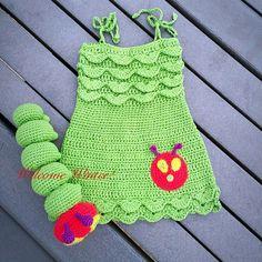 My niece's 'Cap cap' birthday dress. She loved it...totally worth making the dress. #crochet-love #amigurumi #crochetersofinstagram #welcomewinter-aman #crochetgroups #handmadewithlove #theveryhungrycaterpillardress #crochetcaterpillar #instapic #instacraft #instacrochet #gift #crochetgift #kidsdress #handmadegift #giftideas #crochettoys #theveryhungrycaterpillaroutfit by welcomewinter_aman