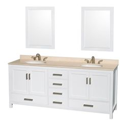 Wyndham Collection Sheffield 80-inch Double White Vanity (White 80'', ivory, 24 mir.), Size Double Vanities