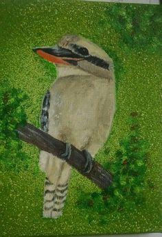 Kookaburra (part of Toni B's Feathers Flight Collection) 8x10 Acrylic  Framed   $100   201480
