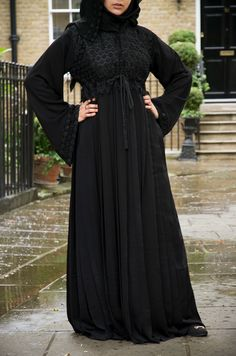 Majestic Empress lace Abaya Majestic Empress lace abaya is extemely rich in detail and quality. The lace on the bodice is finished off with a lace peplum. With a inner drawstring which acts as an elegant belt feature. New Arrivals NEW IN-Abayas Boutique