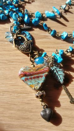 Turquoise Beaded Necklace Triple Strand Heart by TeslaDesigns