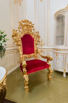 Luxury gold carving throne chair