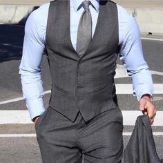men suits grey -- Click VISIT link above for more info Der Gentleman, Gentleman Style, Mens Attire, Mens Suits, Groom Attire, Gilet Costume, Mens Fashion Blazer, Designer Suits For Men, Herren Outfit
