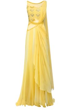 Yellow mukaish embroidered drape saree available only at Pernia's Pop Up Shop.