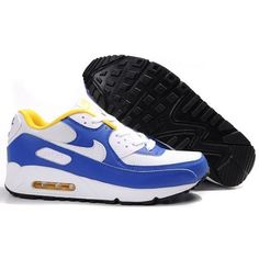 Ken Griffey Shoes Nike Air Max 90 White Blue Yellow [Nike Air Max 90 - Black outsole of the Nike Air Max 90 White Blue Yellow shoes is constructed from ...