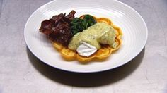 Poached Eggs, Dill Hollandaise, Maple Glazed Bacon, Spinach and Waffles