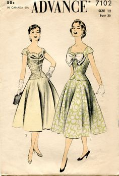 1950s Vintage Dress Pattern Advance 7102 Sewing Pattern by FloradoraPresents