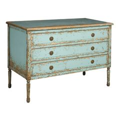 Louis 3 Drawer Chest, Robins Egg Blue
