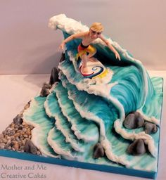 Mother and Me, Creative Cakes, Cake makers Hemel Hempstead, surfer cake Fancy Cakes, Cute Cakes, Fondant Cakes, Cupcake Cakes, Surfboard Cake, Surfer Cake, Theme Sport, Airbrush Cake, Gravity Defying Cake