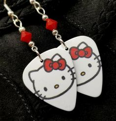 078a1f870 Pink Hello Kitty Guitar Pick Earrings with Pink Swarovski Crystals
