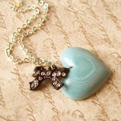 Alice Necklace with Layered Paper Heart by TheSpacesInBetween