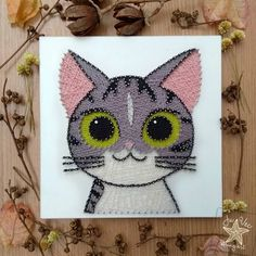 This picture was a gift to a dear friend. The design was adapted from the Japanese animation Chi & # s Sweet Home, from … - String Wall Art, Nail String Art, Arte Linear, String Art Patterns, Small Canvas Art, Japanese Nail Art, Animation, Wire Art, Creative Art