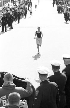 Unofficial participant Bobbi Gibb completes the 1966 Boston Marathon, defying the received wisdom of the day that a woman could not handle running 26 miles.
