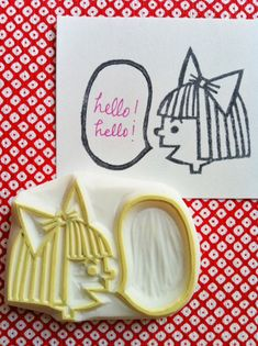girl with a ribbon hand carved rubber stamp. handmade rubber stamp..  via Etsy.