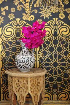 Wallpaper is a great way to add an exotic pattern to a space.