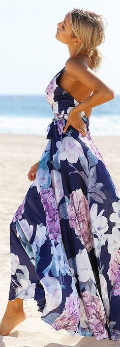 cute bohemian style printed maxi dress