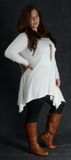 Long Sleeve & Asymmetrical Hem 95% Rayon 5% Spandex Made in the USA Shown with Dark Wash Jeggings & Cognac Ankle Zip Boots