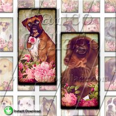 NEW Vintage Dogs and Roses Collage Sheet 1x2 by calicocollage, $4.15