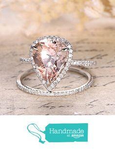 Pear Morganite Engagement Ring Bridal Set Pave Diamond Wedding 14K White Gold 10x12mm from the Lord of Gem Rings https://www.amazon.com/dp/B01HGZVJ06/ref=hnd_sw_r_pi_dp_WBuBxb4E62GVS #handmadeatamazon