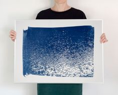 Blue Lake Ripples Wall Art Cyanotype Print on Watercolor Paper, 50 x 70 cm Cyanotype, Lake Tahoe, Watercolor Paper, Printmaking, Art Projects, Tapestry, Crafty, Wall Art, Illustration