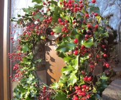 Use green wire to tie the holly and winter berry branches to a wreath form. Could mix in some cedar branches, too. Christmas 2014, Country Christmas, All Things Christmas, White Christmas, Christmas Ideas, Holly Wreath, Berry Wreath, Christmas Centerpieces, Christmas Decorations