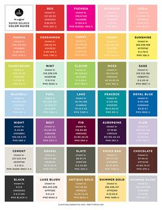 Unofficial Paper Source Color Guide // Conversions for Pantone, CMYK, RGB, and Hex // Akula Kreative