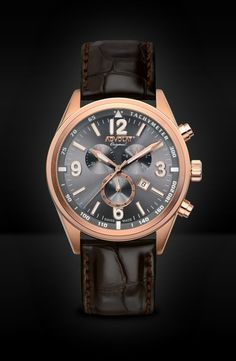 ADVOLAT VOYAGE Swiss Made Chronograph, Tachymeter, Stainless Steel Casing IP rose gold, Face gunmetal sunray, Leather Bracelet dark brown, Ref. 88006/8RG-L3 Saddle Leather, Grey Leather, Limited Edition Watches, Watches Online, Stainless Steel Case, Chronograph, Omega Watch, Rolex Watches, Black And Grey