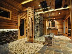 A rustic retreat…rustic stone shower