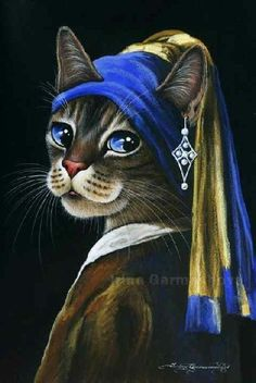 """Girl With The Pearl Earring"" parody – colored pencil art by Irina Garmashova ""Mädchen mit dem Perlenohrring"" Parodie – farbige Bleistiftkunst durch Irina Garmashova Colored Pencil Artwork, Color Pencil Art, Girl With Pearl Earring, Pearl Earing, Frida Art, Gatos Cats, Cats And Kittens, Ragdoll Kittens, Funny Kittens"