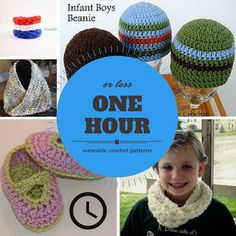 31 One Hour or Less Wearable Crochet Patterns -- if you've only got an hour, try to work up one of these crochet patterns
