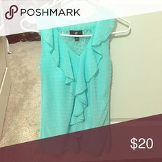 Cute dress shirt Sleeveless teal shirt with lace on back and ruffles on front Tops Blouses