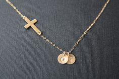 Beautiful Sideways cross necklace with initial discs in by untie, $38.50