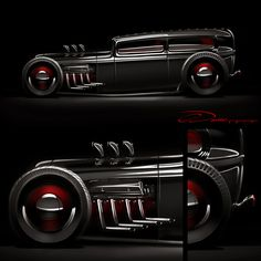 """Hot Rod Tuxedo"" Custom Design Ford Tudor Artwork by Chris Dunlop / Pinstripe Chris"