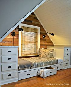 Built-in Bed Using Kitchen Cabinets. Make this cozy built-in bed with stock kitchen cabinets. Add trundle drawers for more storage. Attic Rooms, Attic Spaces, Small Spaces, Small Rooms, Attic Apartment, Open Spaces, Attic Bedroom Ideas Angled Ceilings, Sloped Ceiling Bedroom, Attic Bedroom Small