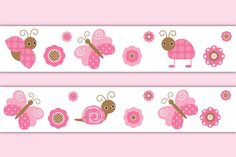 Butterfly Ladybug Wallpaper Border Wall Decals Girl Pink Floral Nursery Stickers #decampstudios