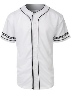 b8c029e4469cda LE3NO Mens Varsity Short Sleeve Button Down Baseball Jersey with Design  Print Baseball Jersey Outfit