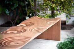 The Ripples bench, winner of the Golden Compass in changes its attire to become an outdoor bench by using okoume wood, also known as Gaboon, native of tropical West Africa and hence perfectly suited to withstand humidity or light rain. A recogni Table Furniture, Furniture Design, The Golden Compass, Toyo Ito, New Interior Design, Bench Stool, Woodworking Skills, Living Spaces, Tropical