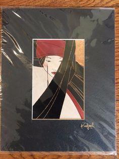 Oriental Asian Japanese Woman Art Print Matted 8x10
