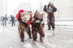 Photograph by Fudulu Catalin, National Geographic Your Shot In Bucharest for the holidays, boys from Romania's Moldova region participate in a tradition called ursul, dressing as bears to go caroling. Ursa Minor, Bear Costume, Europe, First Snow, Shot Photo, Bucharest, Day Book, National Geographic Photos, Christmas Carol