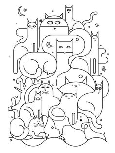 cat illustration Johnathan Calugi - Cats I Illustrations - Gatos Colouring Pages, Coloring Books, Kids Coloring, Free Coloring, Adult Coloring, Embroidery Designs, Simple Embroidery, Modern Embroidery, Cat Quilt