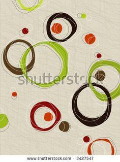 Retro barkcloth fabric inspired design--easy edit layered elements.
