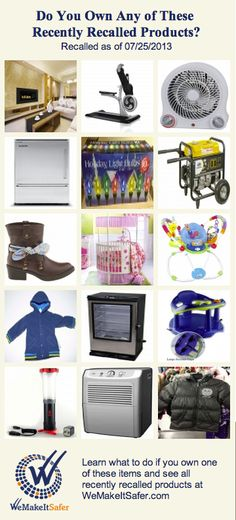 Recently recalled products, including heaters, refrigerators, fireplaces, smokers & more. See the rest at WeMakeItSafer.com