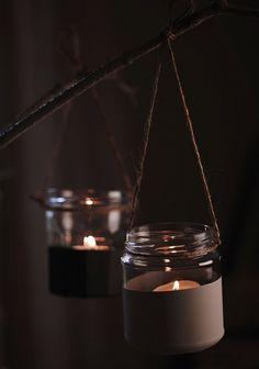 diy hanging candles