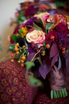 Beautiful Blooms Union League Wedding Autumn Bouquet Orange Red Burgundy Plum Rose Berries Callas Sarah Dicicco