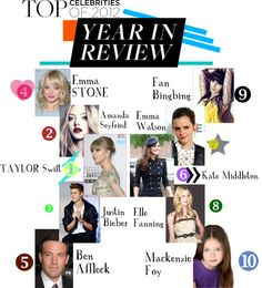 """""""Top Cele's of 2012"""" by jamie-fox ❤ liked on Polyvore"""