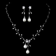 Diamond White Pearl and CZ Wedding Jewelry Set - so lovely for the bride! affordableelegancebridal.com