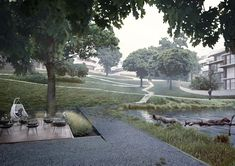 Study of residential project Water Element, Public Spaces, Sidewalk, Country Roads, Study, Exterior, Studio, Side Walkway, Walkway