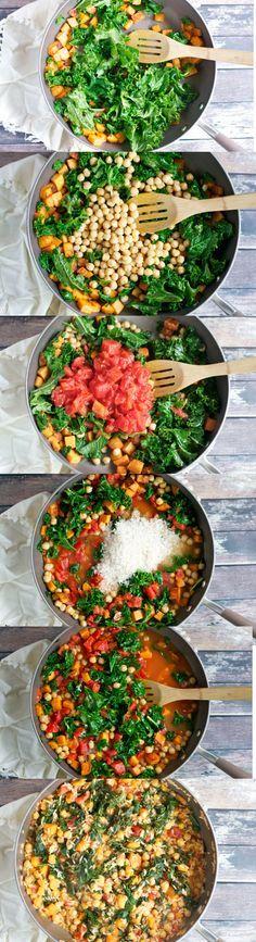 One Pot Sweet Potato, Tomato and Kale Rice Skillet (GF, DF, V) - A Dash of Megnut