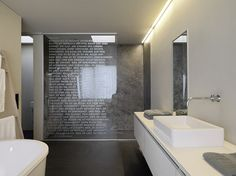 etched glass words on shower door