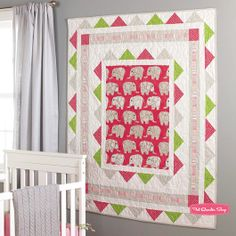 Elephants on Parade Quilt featuring @Dear Stella Play Date! In the Winter issue of Quilts and More! #quilt #fabric #baby